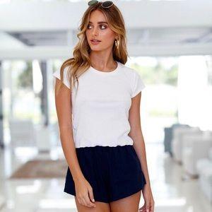 LAST 1 (XXS) LUNAR Linen Shorts (Navy)